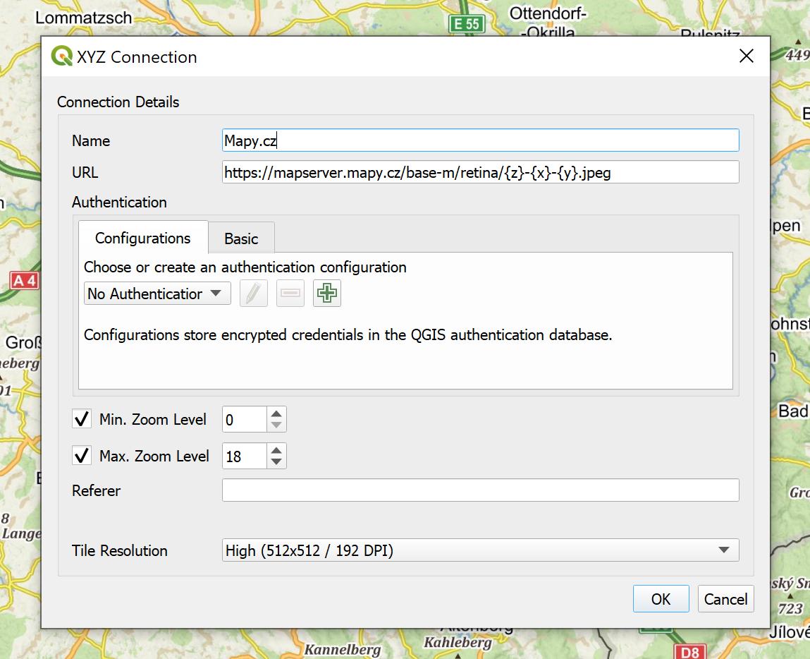Hinzufügen von Mapy.cz als XYZ-Layer in QGIS